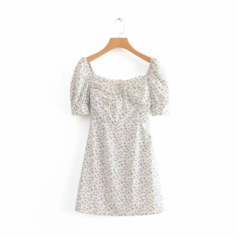 Floral vintage dress women summer beach dress elegant square collar white party dress Sexy mini dress puff sleeve vestidos Fall 6
