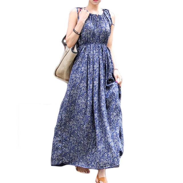 7a9affd7de998 US $20.0 50% OFF|Women Bohemian Vintage Long Beach Summer Dress Sundress  Ethnic Style Boho Maxi Dress Floral Print Vacation Holiday Dress XH368-in  ...