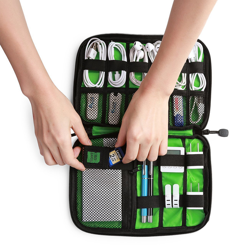 Travel Gadget Organizer USB Cable Earphone Wire Pouch Case USB Charger Power Bank Holder Electronic Suitcase Accessories