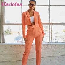 Karlofea Office Lady Blazer Pants Suit Sets Fashion Neon Col