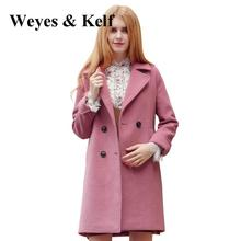 Фотография Weyes & Kelf Double Breastedwool Winter Trench Coats Women 2017 Long Sleeve Ladies Winter Coats Thick Woolen Overcoat Wowen