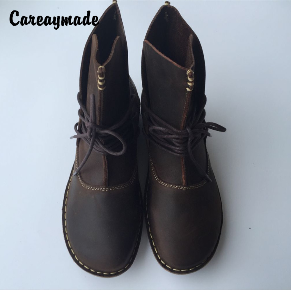 Careaymade-Free Shipping Pure handmade ankle half short boots ,