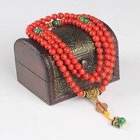 Moda Multilayer 108 Granos Rojos Granos de Rezo Tibetana Mala Pulsera Del Estiramiento Del Encanto Pulsera de Buda de Piedra para Los Hombres Joyería de Las Mujeres