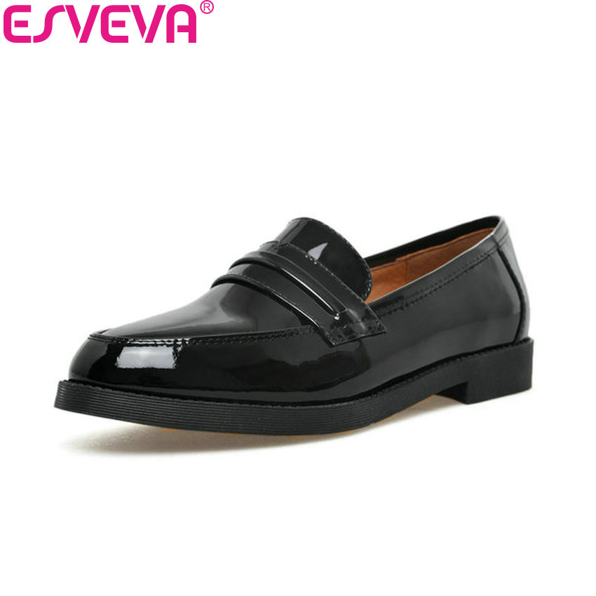 ESVEVA 2018 Women Pumps Low Heels Slip on Black Cow Leather PU Square Heels Round Toe Casual Out Door Ladies Shoes Size 34-40 nayiduyun women casual shoes low top platform wedge high heels boots round toe slip on pumps punk chic shoes black white sneaker
