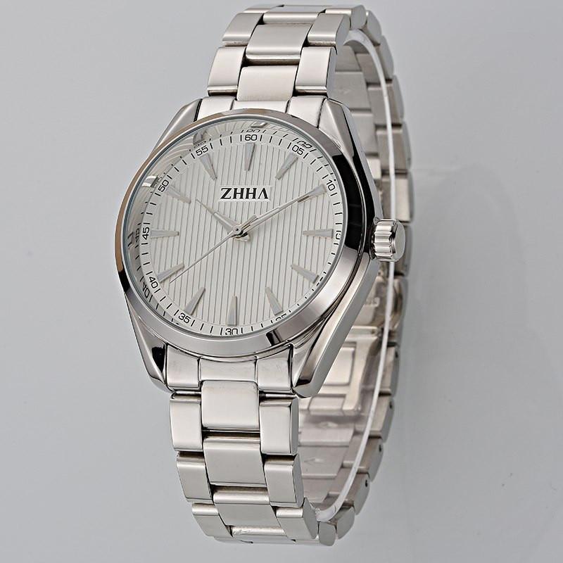 ФОТО ZHHA New Fashion Women Man Lovers Wristwatch Stainless Steel strap Analog Quartz Casual Watch ZW020 Masculino Feminino Relogio