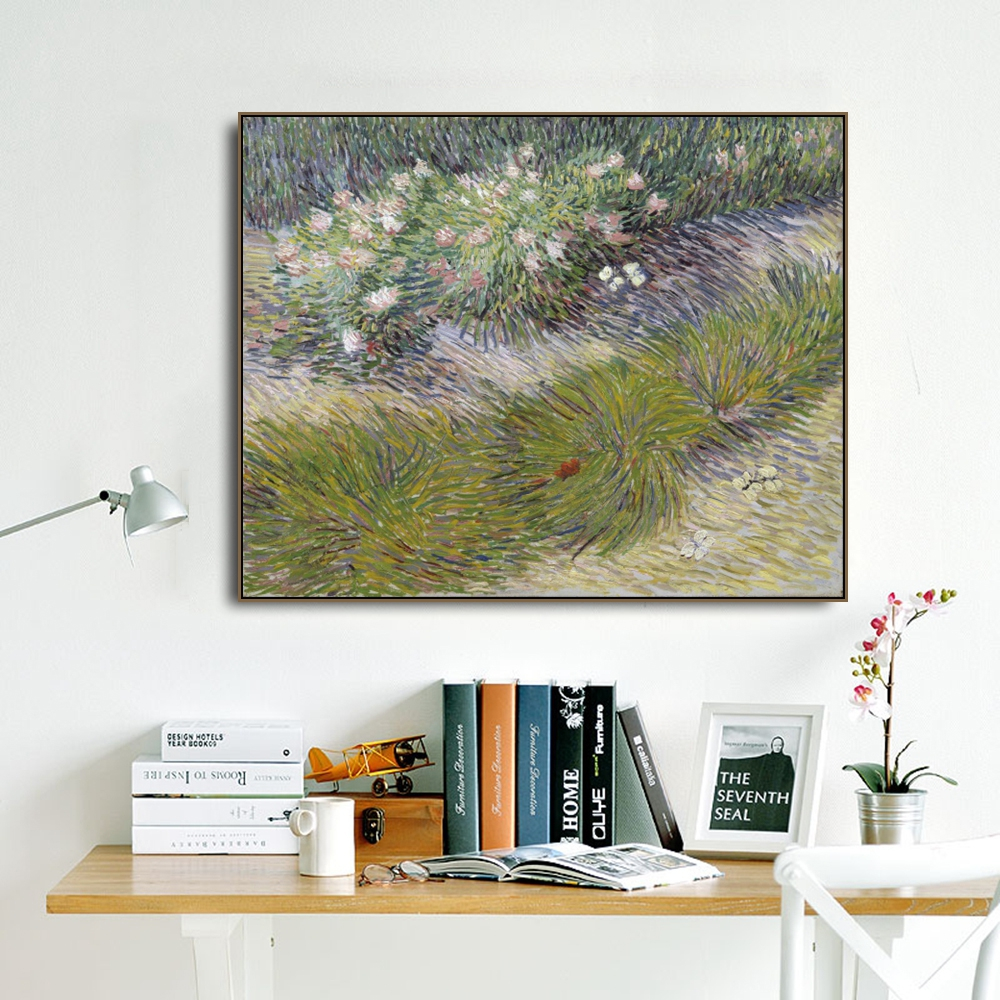 Grass and Butterfly by Vincent Van Gogh Poster Print Canvas Painting Calligraphy Wall Picture for Living Room Bedroom Home Decor