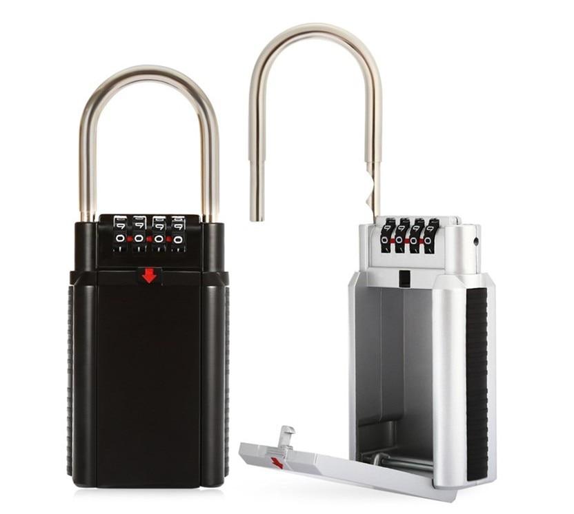 Storage Lock Box, 4-Digit Combination Lock Box, Wall Mounted Lock Box, Resettable Code