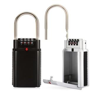 Storage Lock Box, 4-Digit Combination Lock Box, Wall Mounted Lock Box, Resettable Code combination security padlock 4 digit resettable code lock black pack of 2