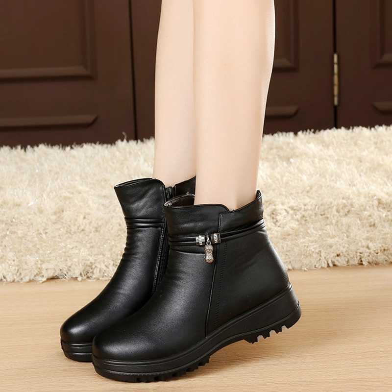 8f2d96e08 ... CEYANEAO/Модная зимняя обувь, женские ботильоны из натуральной кожи на  плоской подошве, Повседневные ...