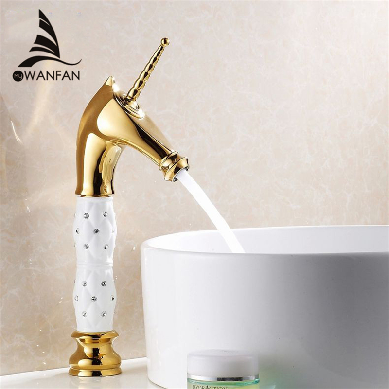 Basin Faucets Fashion Horse head Solid Brass with Diamond body Bathroom Faucet Single Handle Single Hole Mixer Tap HJ-819K fashion design goose neck brass robinet bathroom basin tap faucet