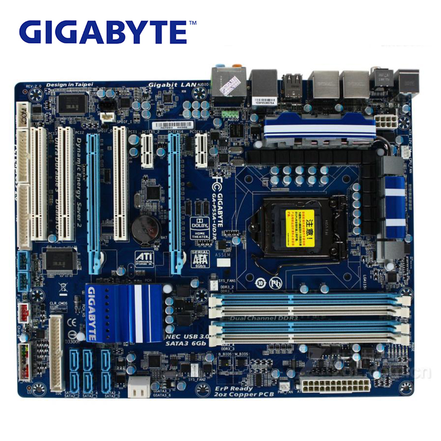 LGA 1156 DDR3 Gigabyte GA-P55A-UD3R 100% Original placa base USB3.0 P55 un P55A-UD3R placa base de escritorio SATA3 se P55A UD3R