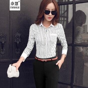 11428a96e20e7 Blusa rayas Mujer Casual elegante dama en blanco y negro Oficina de la  camisa de manga larga Mujer Tops