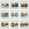 charms jewelry coral shell pearl turquoise jade gem stone pave rhinestone surface gold silver plated base adjustable open ring