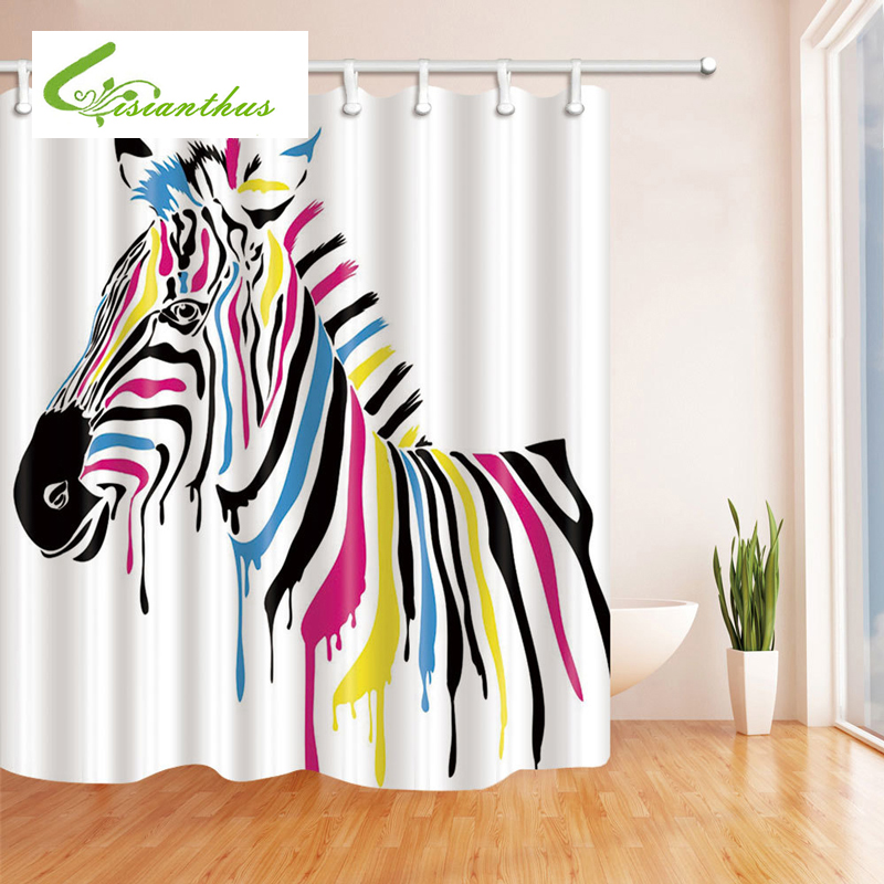 3D Colorful Zebra Print Shower Curtains Bathroom With 12 Hooks Waterproof Polyester Fabric Curtain Animal Bath In From Home