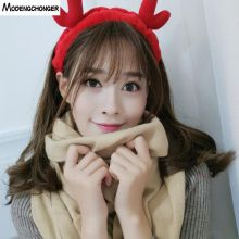 Hair Band Cute Antler Wash Face Soft Coral Velvet Headband Christmas Decoration Lovely For Women Girls Accessories