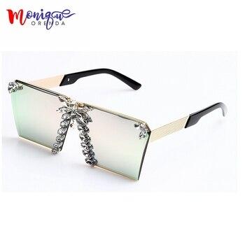 MONIQUE 2017 Mulheres Da Moda Óculos De Sol De Luxo Strass Oversize Óculos De Sol Do Vintage UV400 óculos de armações de óculos para As Mulheres