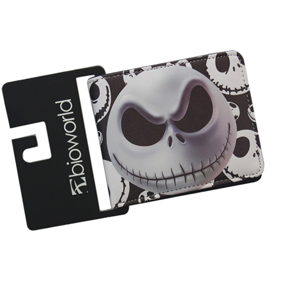 Short Slim Horror Scream Jack Wallets THE NIGHTMARE BEFORE CHRISTMAS for Halloween Gifts Men Woman Children Purse Leather Dollar long style pu wallet of the nightmare before christmas skull jack with button and multi layer