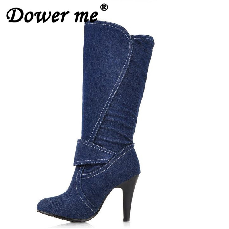 2018 Women Spring Autumn Knee High Boots Spiked High Heels Buckle Strap Metal Round Toe Less Platform Blue Denim Boot size 34-41 large size women spring autumn denim knee high boots high heels buckle strap metal decoration pointed toe platform boots