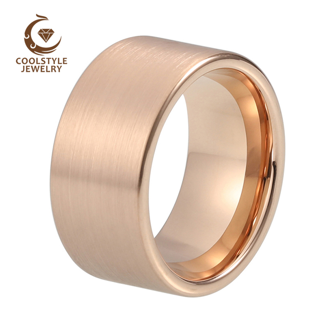 12mm Large Width Men Tungsten Carbide Wedding Band Rose Gold