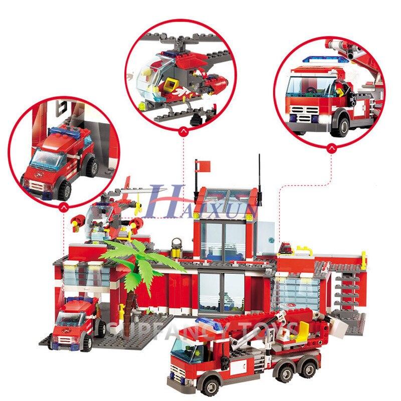 Image 4 - 774Pcs City Fire Station Fireman Truck Car Bricks LegoINGLs Building Blocks Sets DIY Playmobil Toys For Children Christmas Gifts-in Blocks from Toys & Hobbies