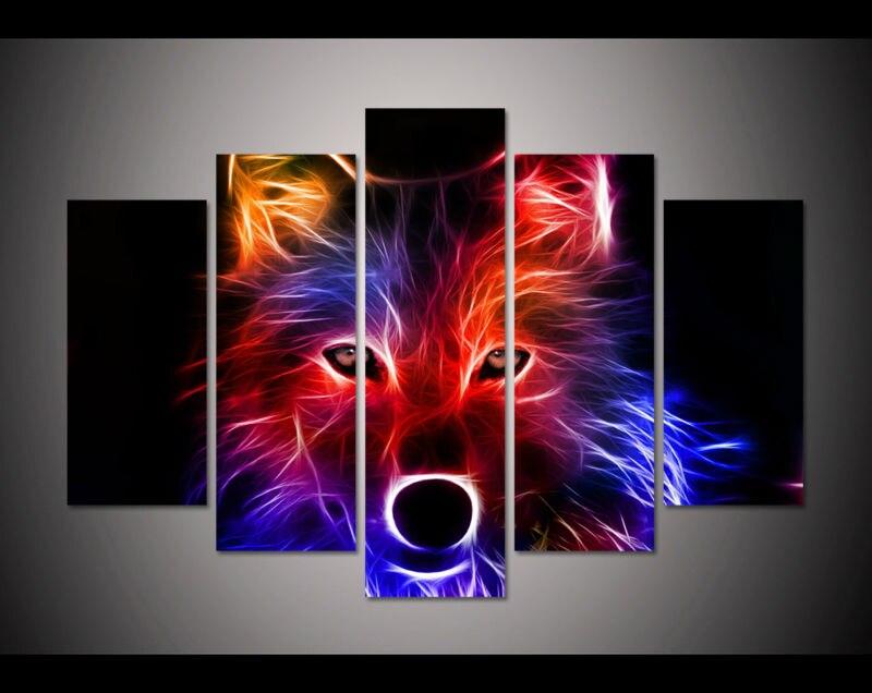 5 панель большой плакат HD с картина маслом Coloful своих волк парусина принт Home Decor Wall Art картинки для гостиной f0335