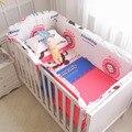 Promoção! Kit Berço Para Berço Do Bebê quente, Folha de cama Colcha Fronha E Amortecedores Para Berços de Enchimento, 100% do bebê do algodão bedding sets