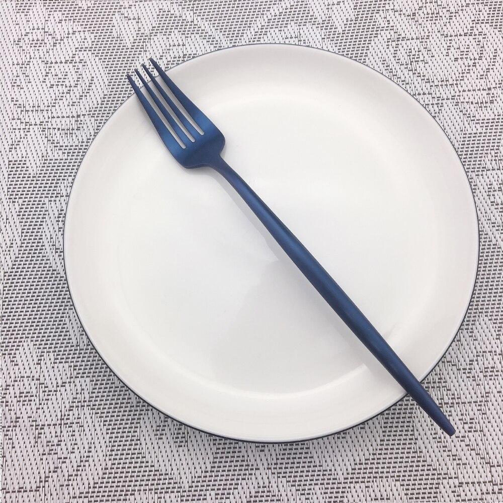 32 stks/8 set Groothandel Kleurrijke Blauw Bestek Bestek Set Rvs Zwart Vorken Messen Lepels Servies Set Drop verzending - 3