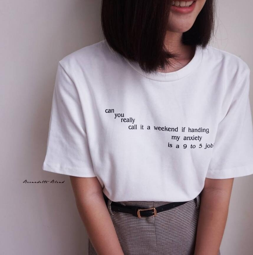68d02a7b Can You Really Call It A Weekend Letter T-Shirt Women Tumblr Inspired  Pastel Pale