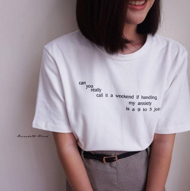 4a16ea9d95 Can You Really Call It A Weekend Letter T-Shirt Women Tumblr Inspired  Pastel Pale Grunge Aesthetic Tees Funny tees tops T Shirt