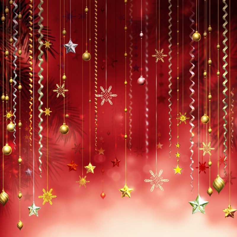 Laeacco Photography Backdrops Christmas Star Snowflake Pine Pendant Party Celebration Bokeh Baby Shower Photo Studio