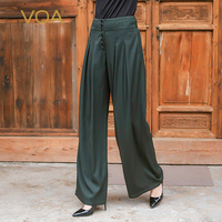 VOA Heavy Silk Office Straight Pants Plus Size 5XL Women Long Trousers Brief Basic Loose Business Army Green Spring KLH01501