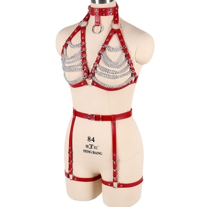 Image 4 - Red Strap Top Cage Leather Harness Bra Bondage for Women Metal Chain Body Harness Set Garter Belt Punk Gothic Plus Size Adjust