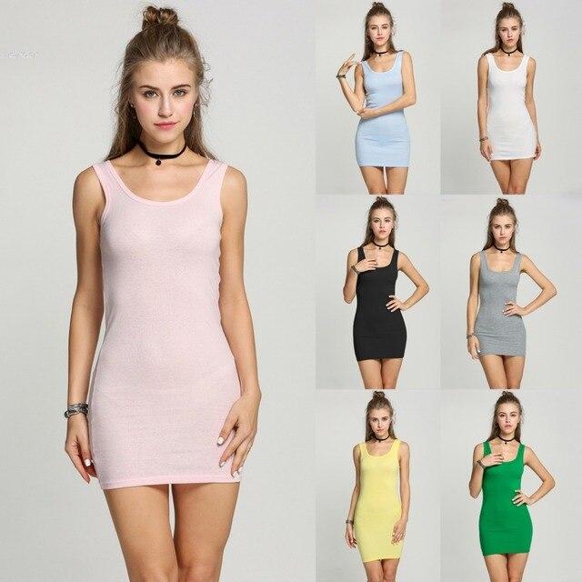 df09c59cc6a218 2018 New Women s Sexy All Match Sleeveless Mini Dress Slim Mini Long Tank  Tops T-Shirt Candy Colors
