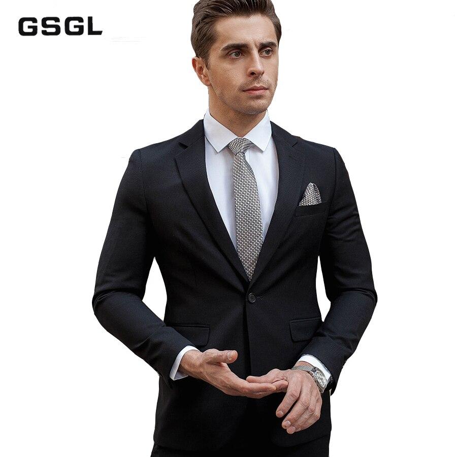 Elegant Men's Suit Black Single-Breasted One Button 3 Piece Slim Fit Formal Suits