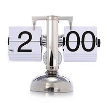 Retro Modern Scale Digital Auto Flip Single Stand Home Desk Table Clock White