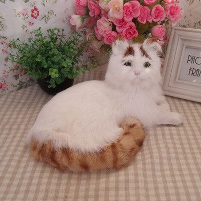 simulation lying white&yellow  coloured cat 30x21x16cm model polyethylene&furs cat model home decoration props ,model gift d702 large 21x27 cm simulation sleeping cat model toy lifelike prone cat model home decoration gift t173