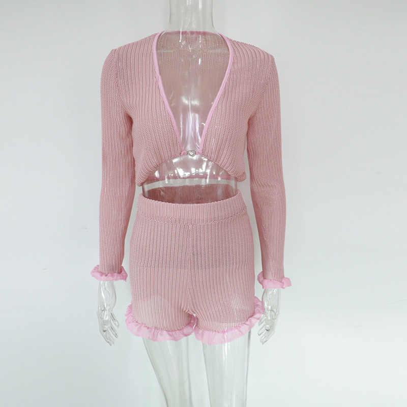 Beyprern милый гофрированный сетчатый комплект с розовыми шортами, комплект из двух частей, Женский шифоновый укороченный топ в стиле бохо и шорты с высокой талией, комплект уличной одежды