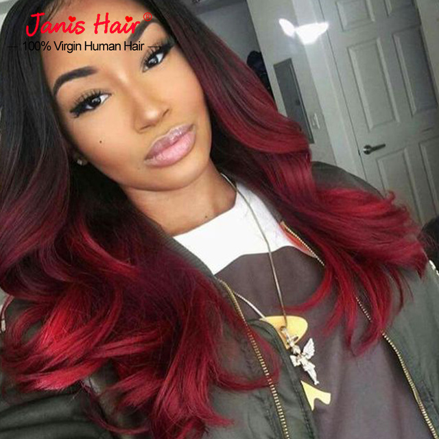 Bright Ombre Human Hair Extensions Two Tone 1b Red Indian Body Wave