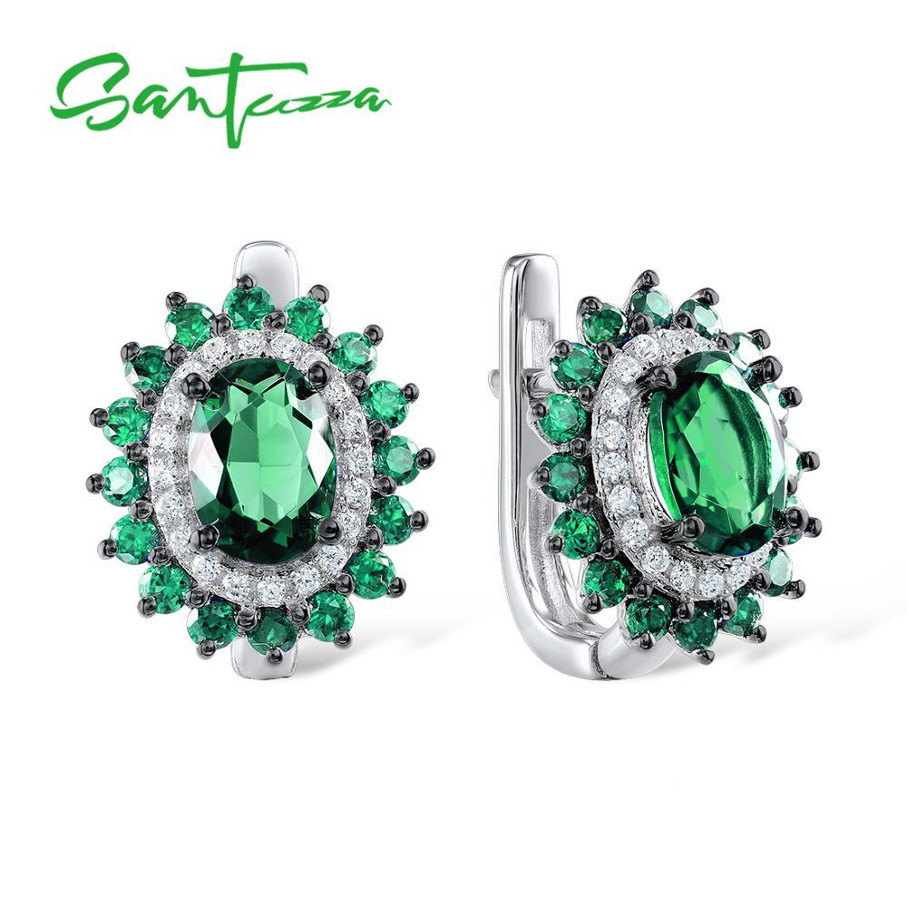 SANTUZZA Silver Earrings For Women Pure 925 Sterling Silver Luxury Sparkling Oval Green Spinel Trendy Stud Earrings Fine Jewelry