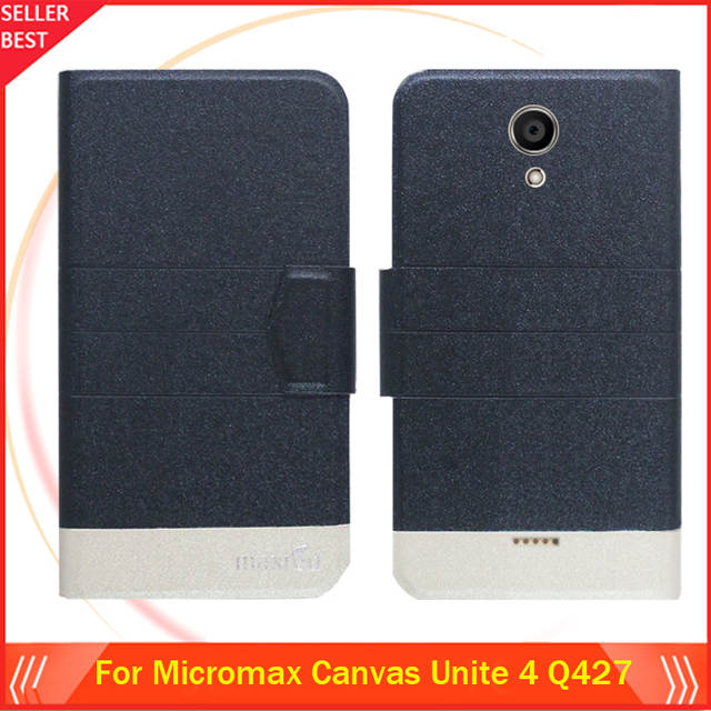 newest 16af7 989c1 US $3.65 15% OFF|5 Colors Hot! Micromax Canvas Unite 4 Q427 Case Phone  Leather Cover,Luxury Full Flip Stand Leather Phone Cases Wallet Bags-in  Flip ...