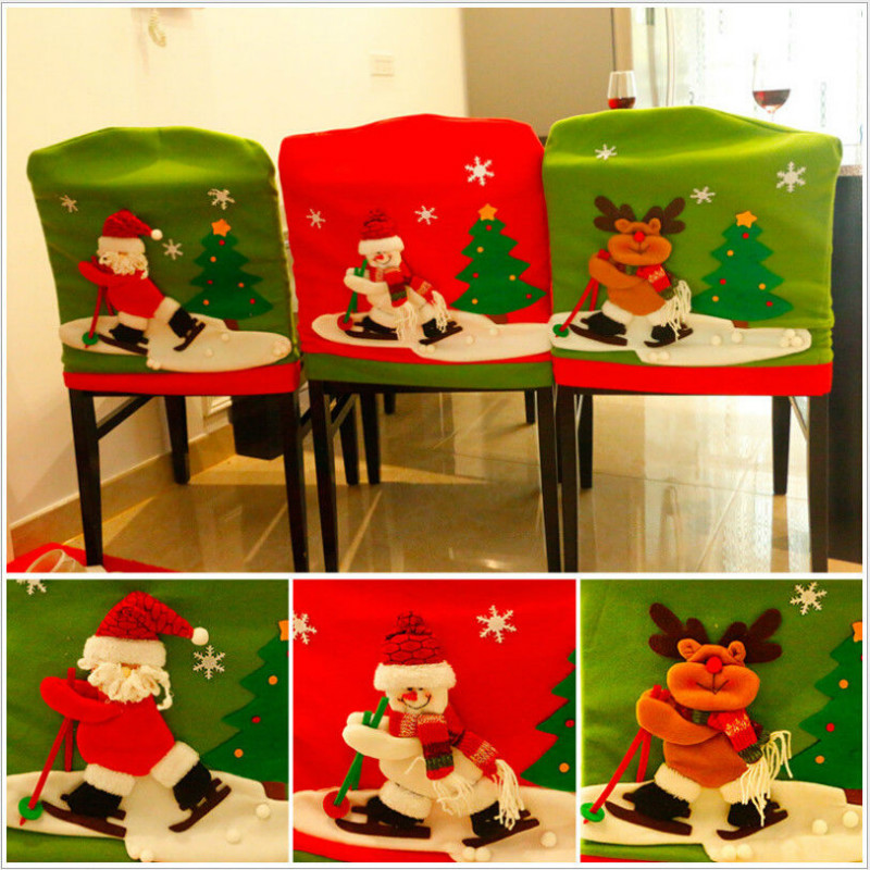 Decorate Your Dinning With These Lovely Christmas Chair: Merry Christmas Dinner Chair Cover Lovely Santa Claus