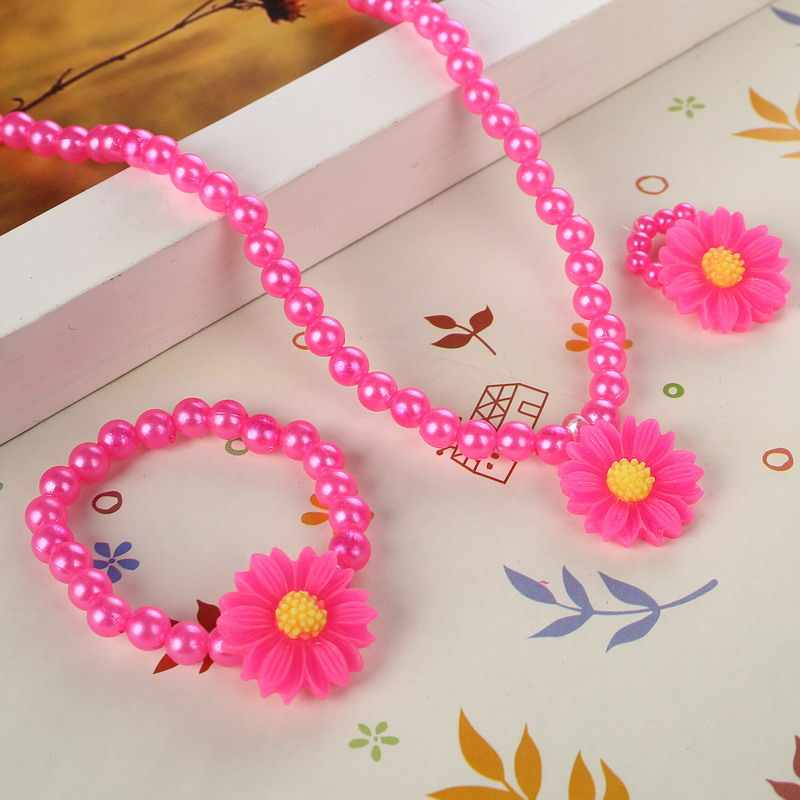 Cute Pink Simulated Pearl Beads Kid Jewelry Sets Resin Rose Flower & Sun flower Pendant Necklace Bracelet Ring For Child gifts