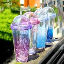 Wasserflaschen Stroh Flaschen Für Wasser Kunststoff Transparent Tragbare Blume trinkflasche Drink C2