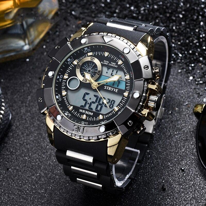 Relojs Stryve Marque ventes Chaudes Hommes Montres Sport Cool de 3ATM Étanche Hommes Montres Outerdoor Numérique Montres De Mode