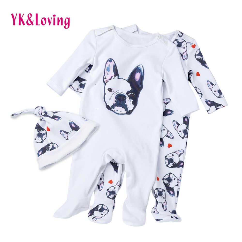 Monos de bebé Bulldog manga larga mamelucos ropa de algodón perro anime 2019 nuevo otoño/invierno recién nacido niña niño mono sombrero