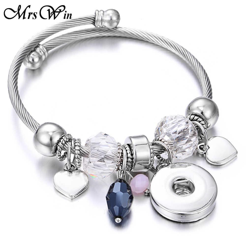 Nowy Snap biżuteria zroszony Snap bransoletki 18mm Snap bransoletka mankietów bransoletki Fit 18 MM zaskoczy biżuteria sowa słoń Charms koraliki bransoletka