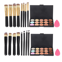 Top Quality 15 Colors Concealer Palette Makeup Foundation Sponge 4 Pcs Cosmetic Brush Free Shipping