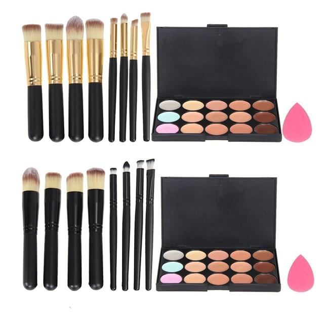 Top Quality 15 Colors Concealer Palette+Makeup Foundation Sponge+4 Pcs Cosmetic Brush