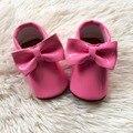 Rosa Menina Sapatos de Couro Pu Criança Moccs Handmade Sapato Infantil