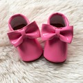 Rosa de La Muchacha Zapatos de Cuero de La Pu Del Niño Moccs Hecha A Mano Infantil de Zapatos